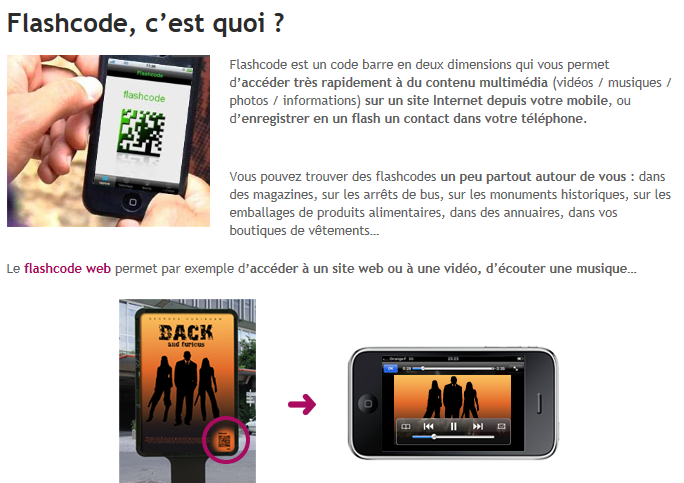 flashcode sur telephone
