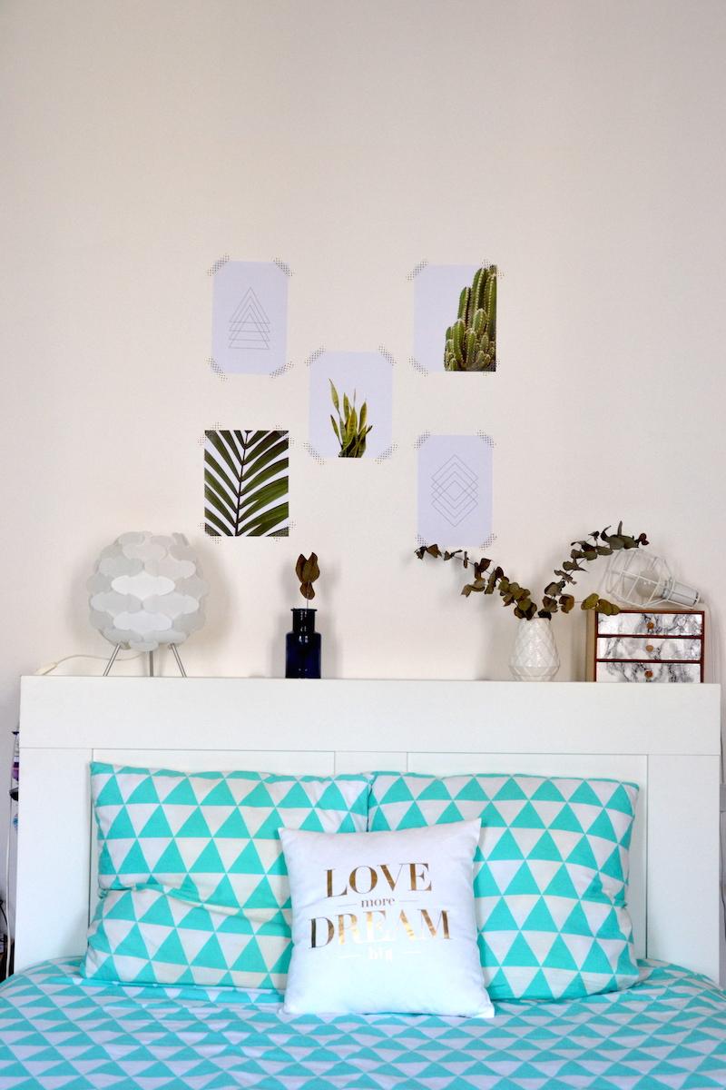 déco tête de lit avec affiches cactus et minimaliste lusha prints