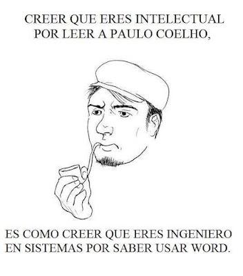 Meme de humor sobre Paulo Coelho y la intelectualidad