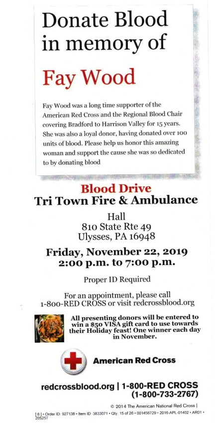 11-22 Donate Blood, Tri-Town Fire Hall