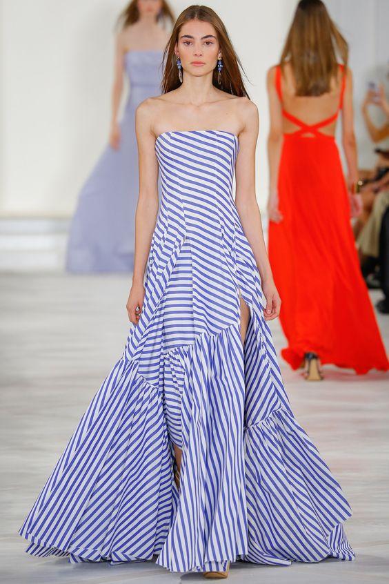 Vestido azul e branco da Ralph Lauren primavera-verão 2016