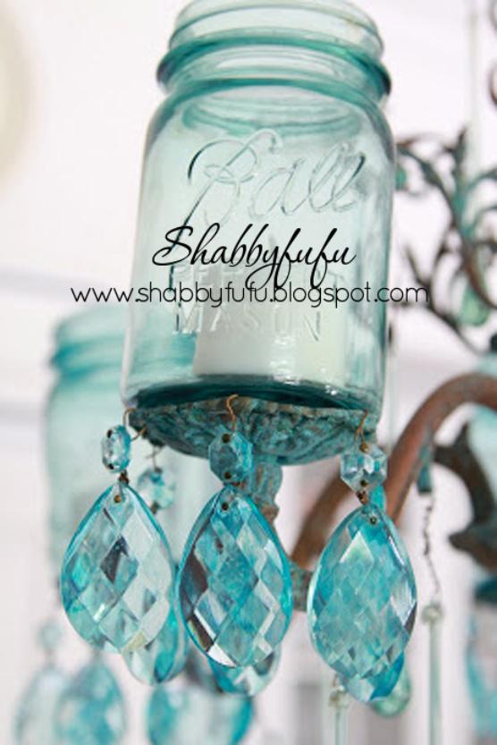 mason jar blue chandelier