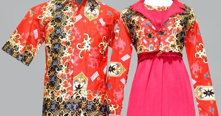 10 Model Busana Muslim Batik Couple Kombinasi Satin 2017