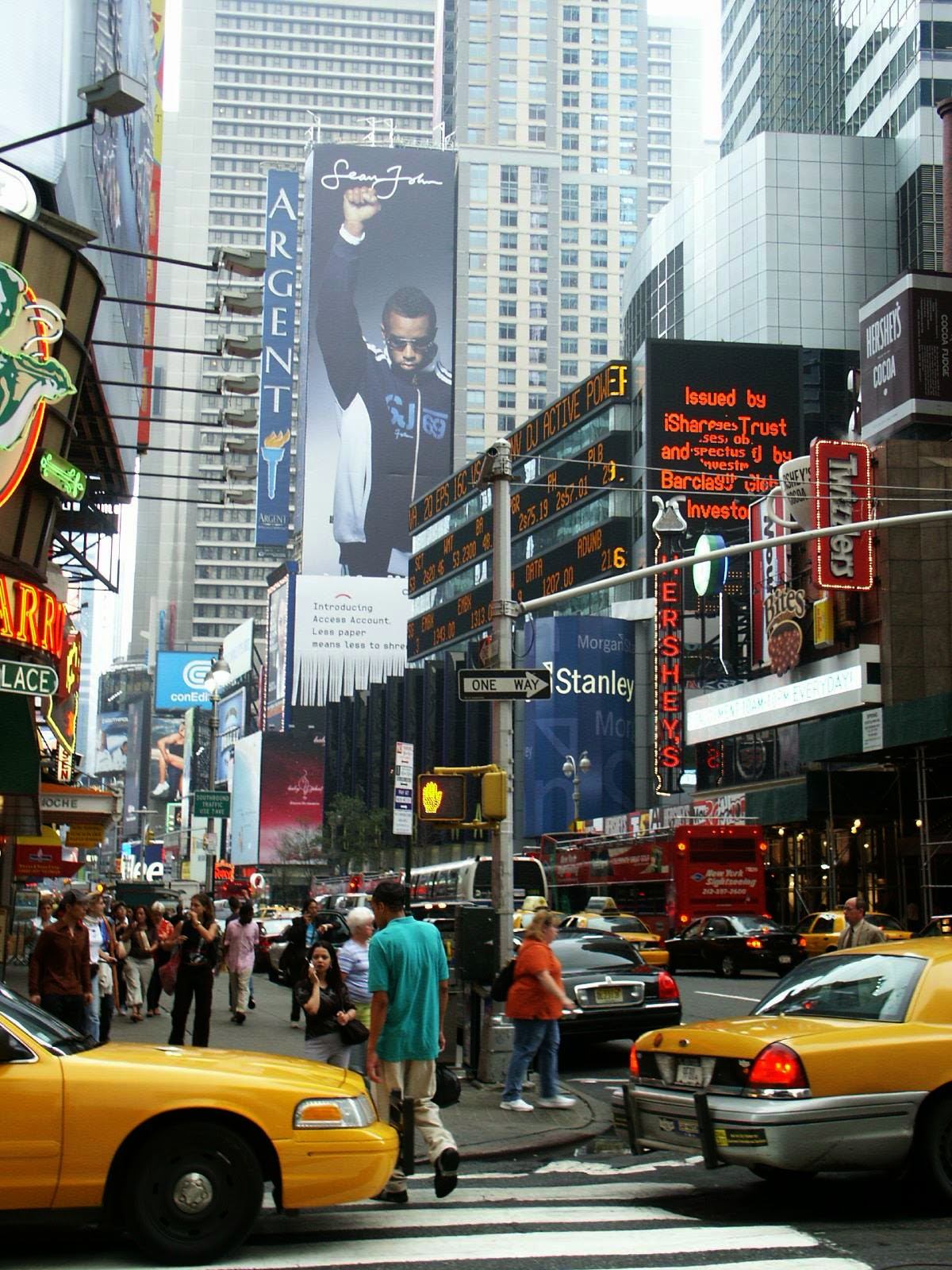Times Square in New York City back in 2004, filled with various sized billboards and moving billboards