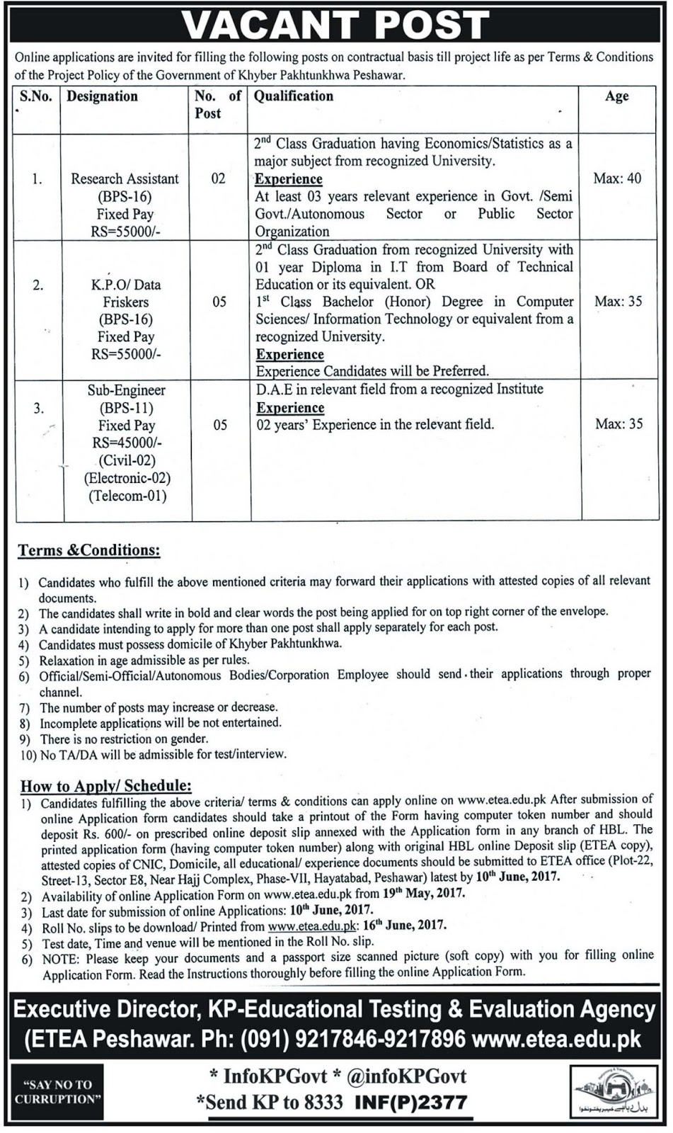 Peshawar Jobs In Educational Testing And Evaluation Agency KPK 20 May 2017