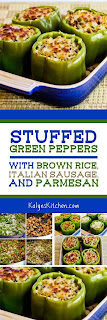 Stuffed Green Peppers with Brown Rice, Italian Sausage, and Parmesan found on KalynsKitchen.com