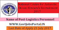 National Centre for Antarctic & Ocean Research Recruitment 2017 – Logistics Personnel