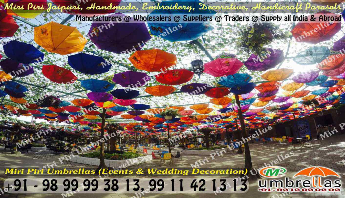 Rajasthani jaipuri wedding decorative umbrellas parasols how to use umbrellas for wedding decorations junglespirit Gallery