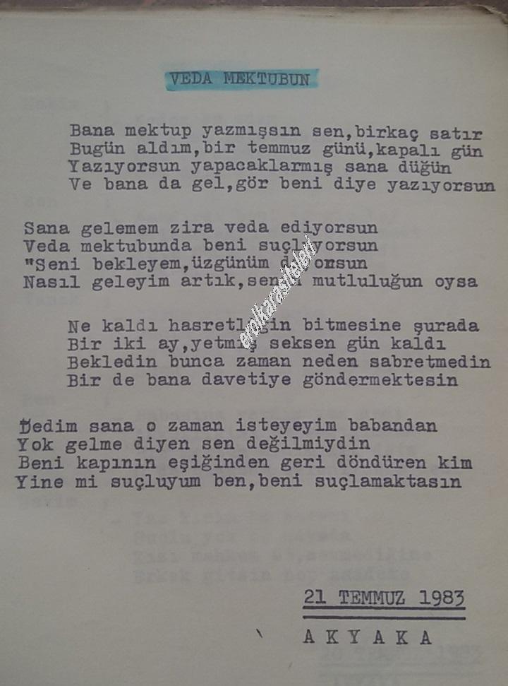 Nostaljik Asker Şiirleri - Veda Mektubun