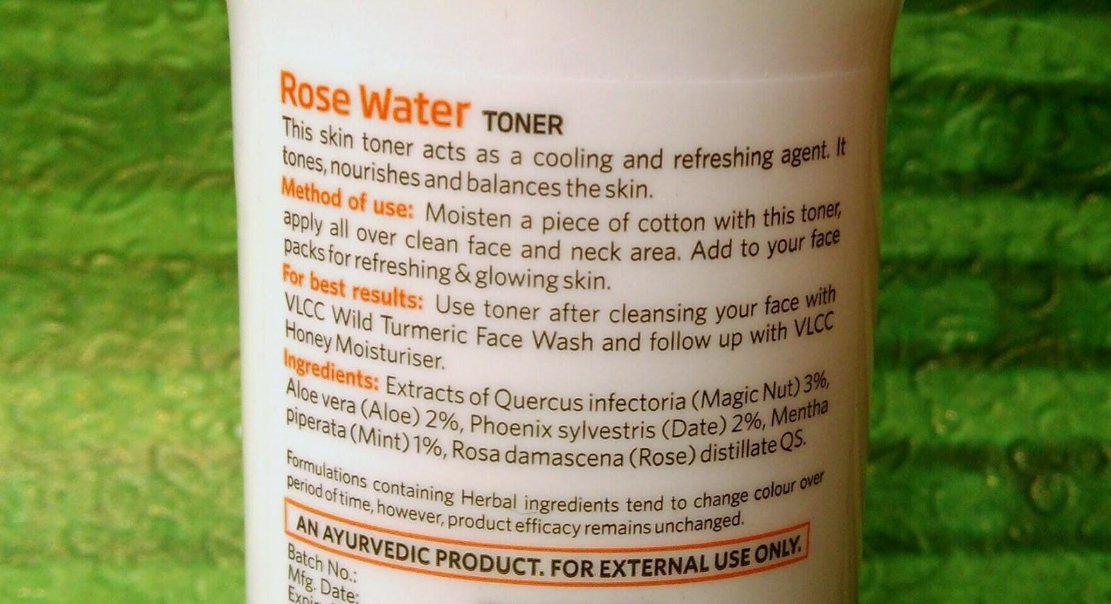 Facial toner ingredients