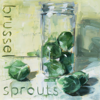 Brussel sprouts in a jar painting
