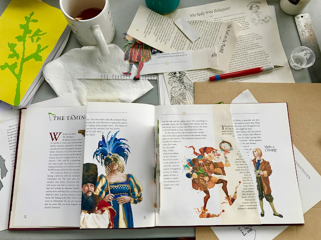 Cutting up a Shakespeare book.