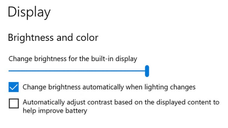Disable Content Adaptive Brightness Control in Windows 10