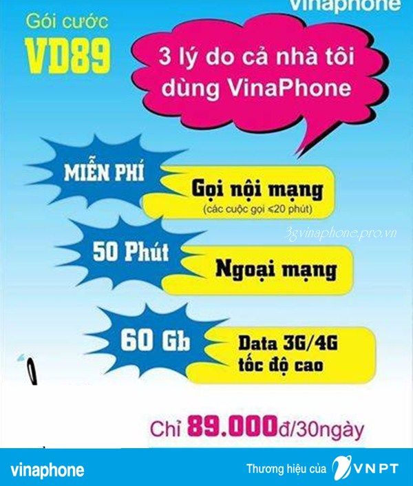 Gói cước VD89 mạng Vinaphone