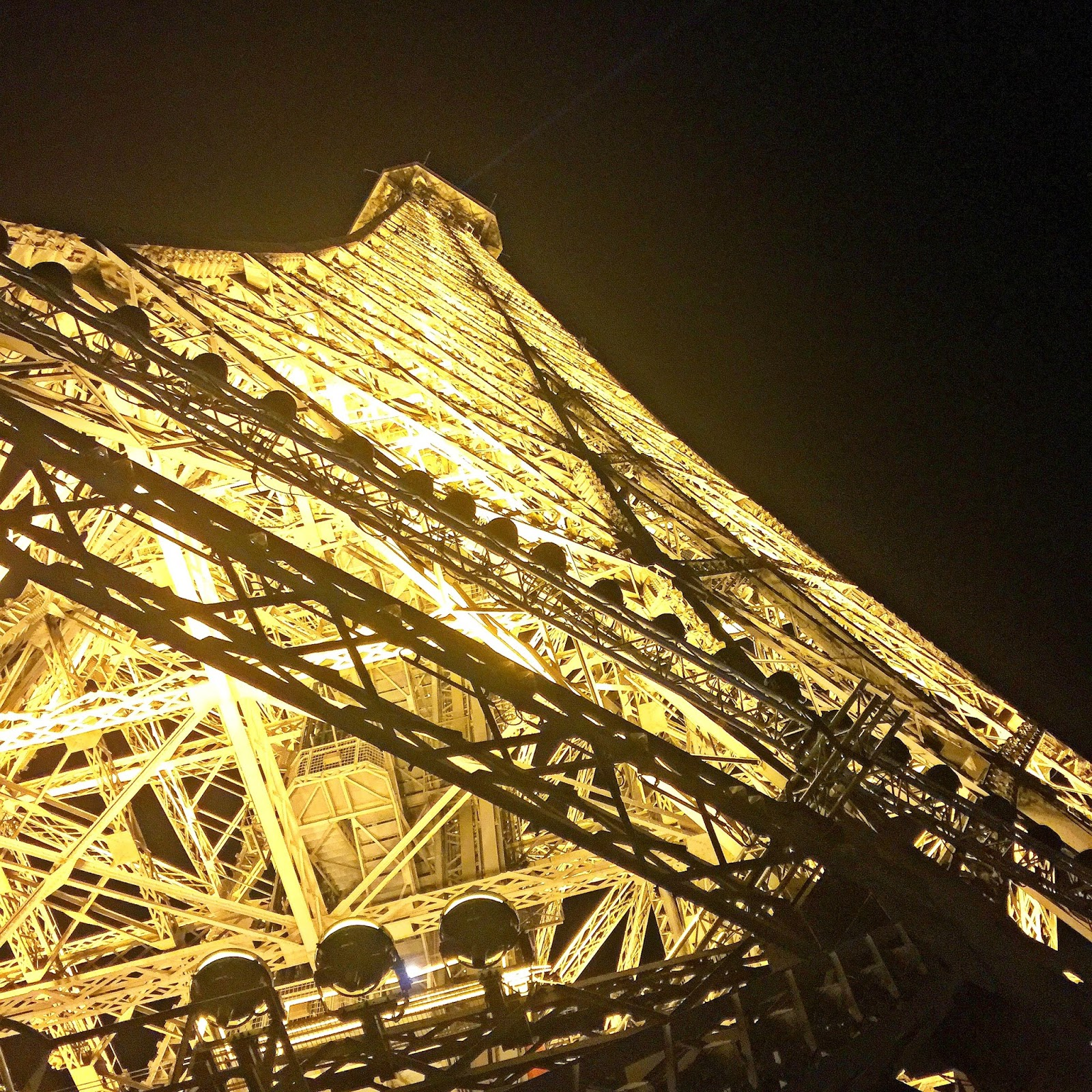 eiffel tower from below at night