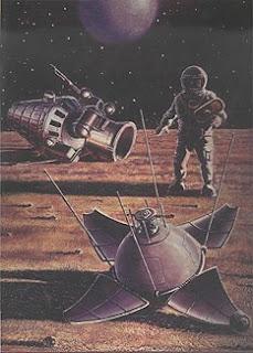 Un quadro di Leonov e Sokolov, Oceanus Procellarum: un futuro cosmonauta osserva i resti della sonda Luna 9
