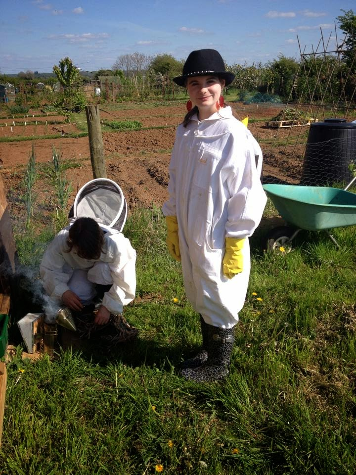 Suited up for a hive inspection.