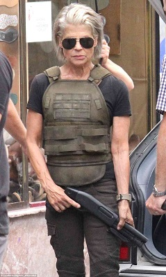 Penampilan Linda Hamilton dalam syuting Film Terminator terbaru.