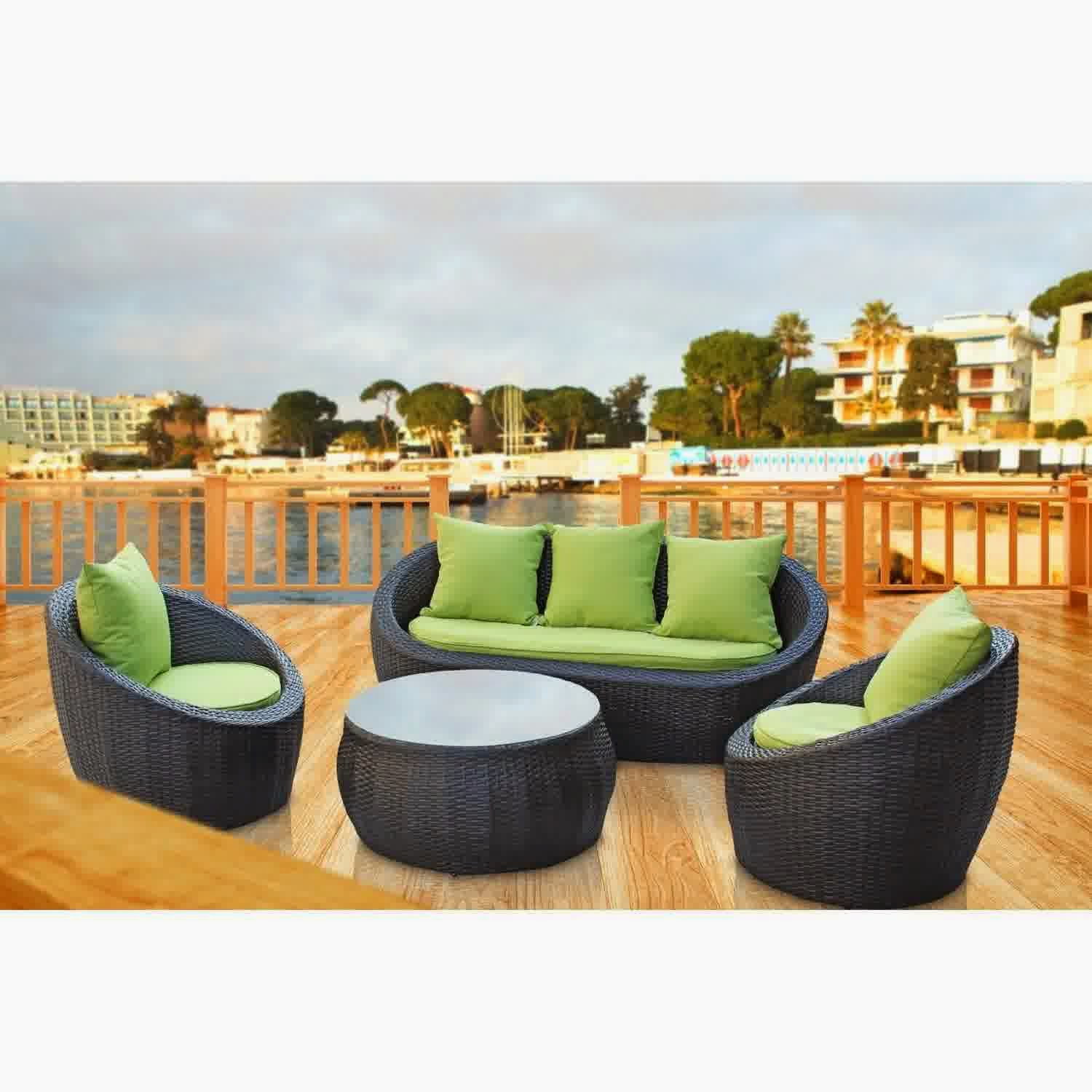 LexMod Avo Outdoor Wicker Patio 4 Piece Sofa Set in Brown with Green Cushions