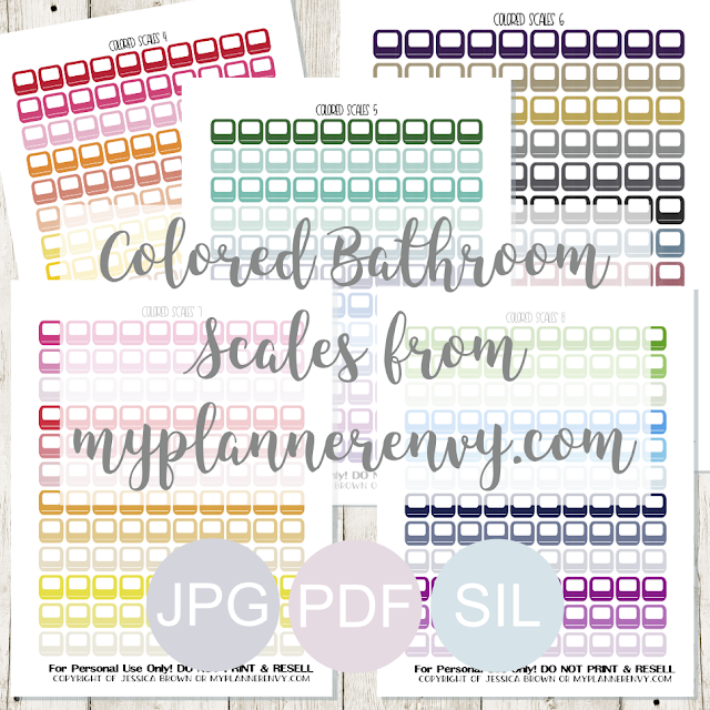 Free Printable Colored Bathroom Scales from myplannerenvy.com
