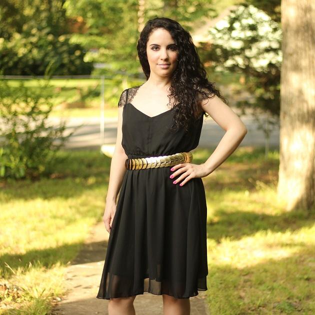 Black Lace Shoulder Dress