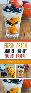Fresh Peach and Blueberry Yogurt Parfait  found on KalynsKitchen.com