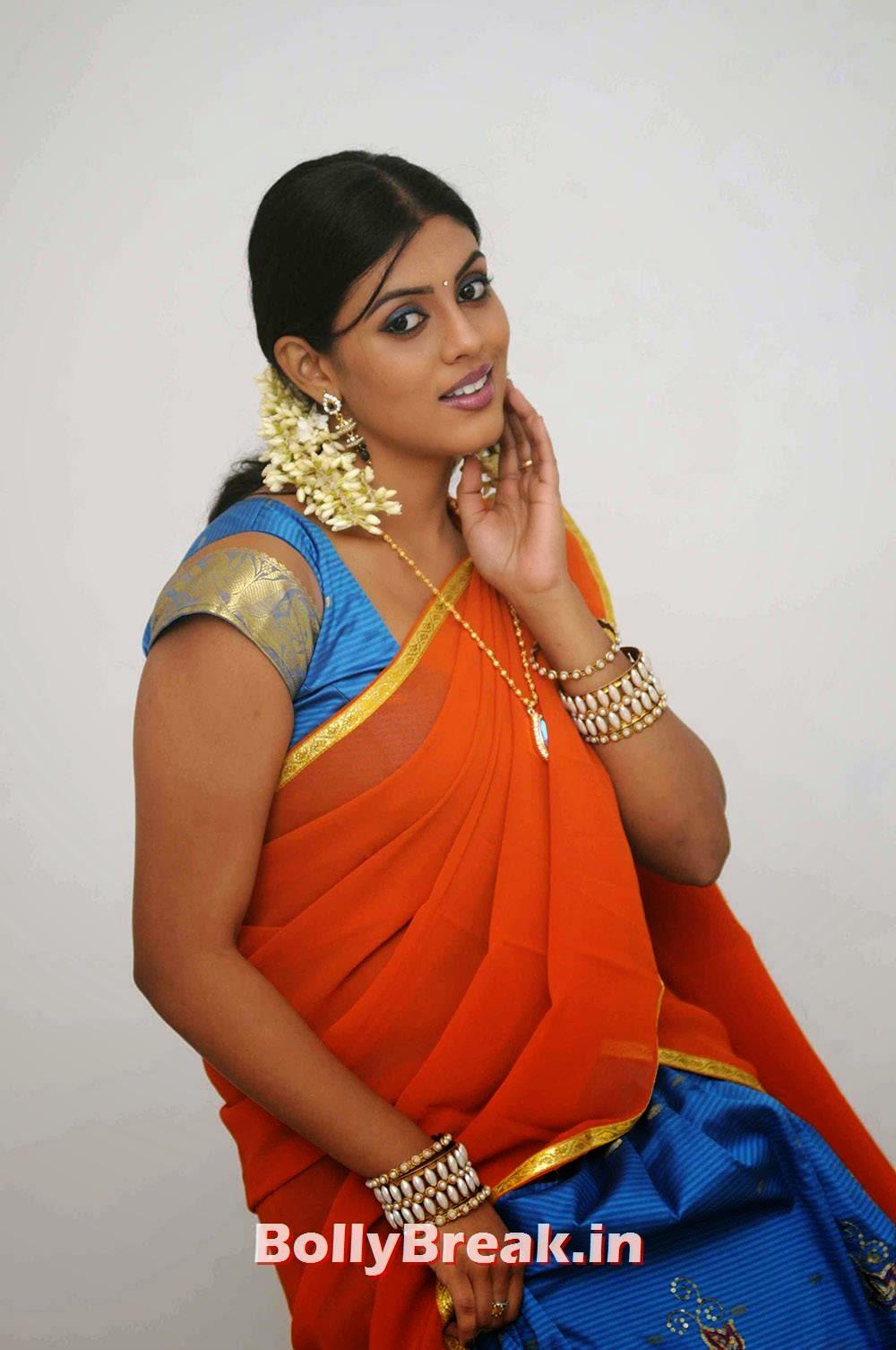 Tamil Actress Iniya, Actress Iniya hot Pics in Orange Saree