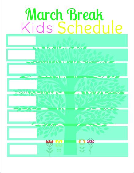 march break kids schedule printable