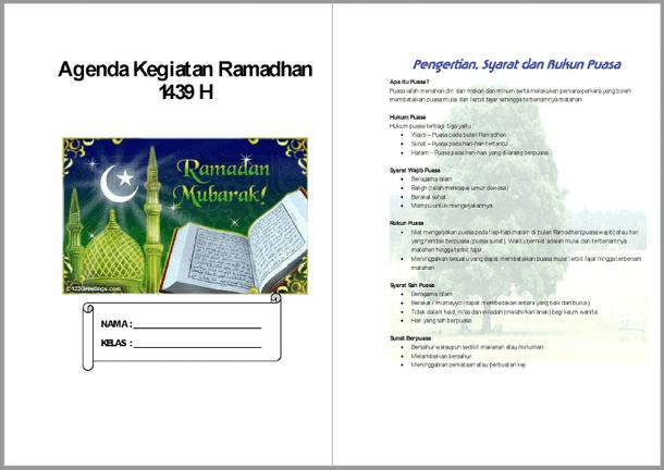 Contoh Buku Agenda Kegiatan Siswa di Bulan Ramadhan