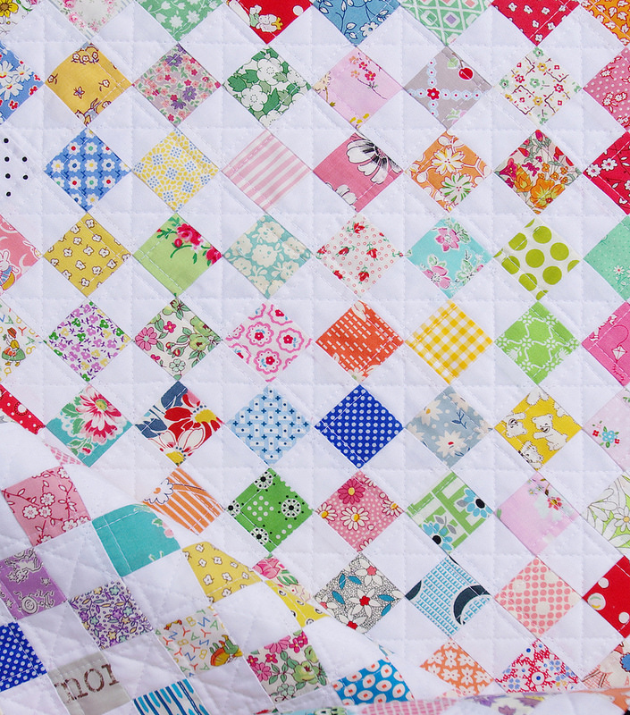 A Checkerboard Postage Stamp Quilt ~ Red Pepper Quilts