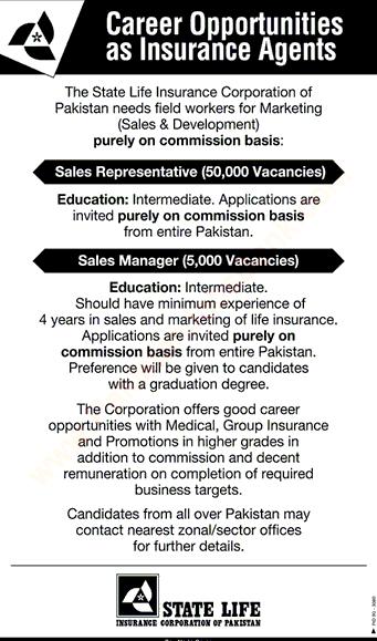State life insurance jobs of Pakistan 2019