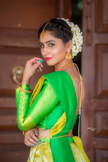 Varshini Sounderajan in Green Choli Stunning Ethnic Designer Backless Choli