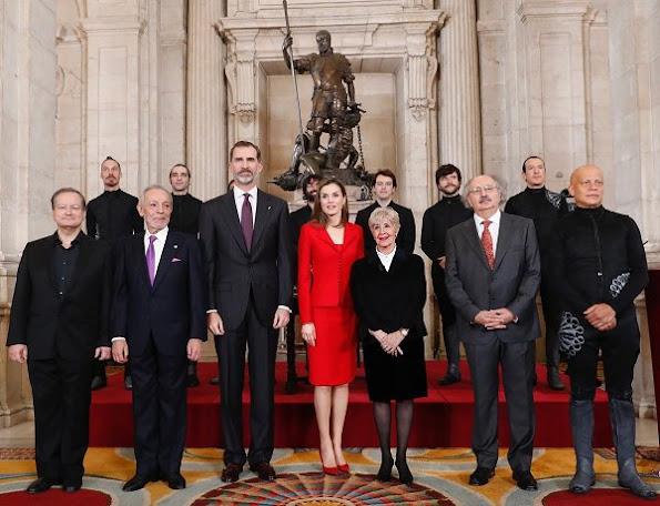 Queen Letizia of Spain attend 'Commemoration Of Cervantes Death' closing ceremony wore Felipe Varela skirtsuit, Carolina Herrera Animal Print Clutch Bag