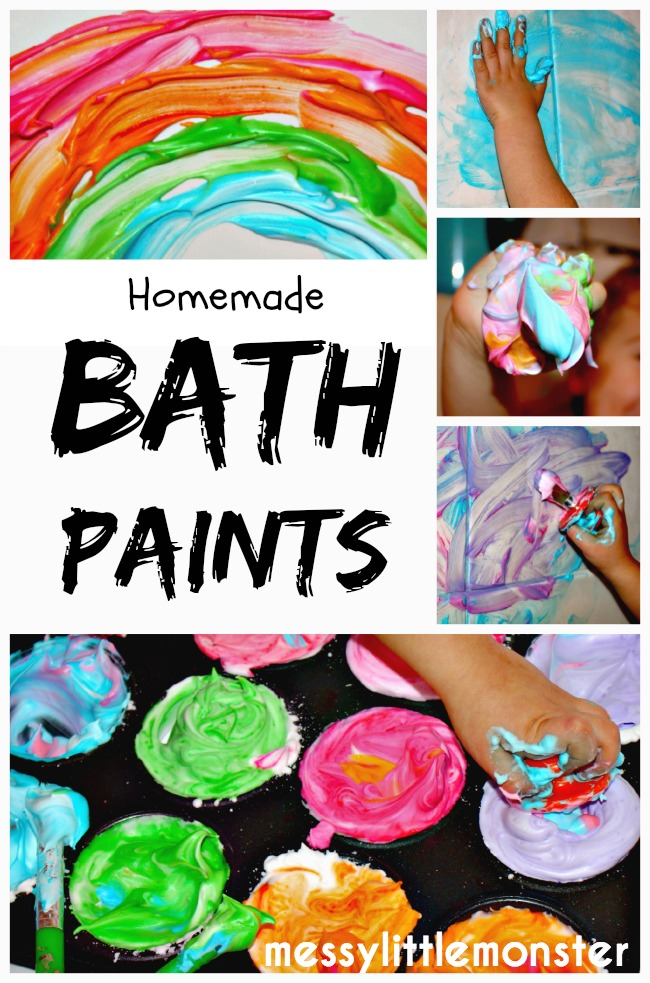 Homemade bath paint recipe using 2 ingredients.  A fun painting technique for kids.  Great for toddlers, preschoolers, eyfs to mark make and explore colours.