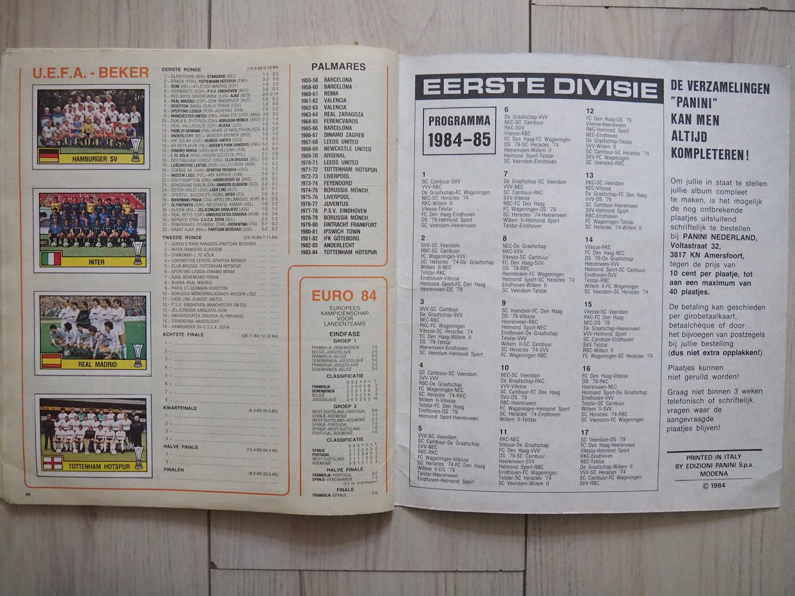 Only good stickers panini voetbal 85 for League table 1984 85
