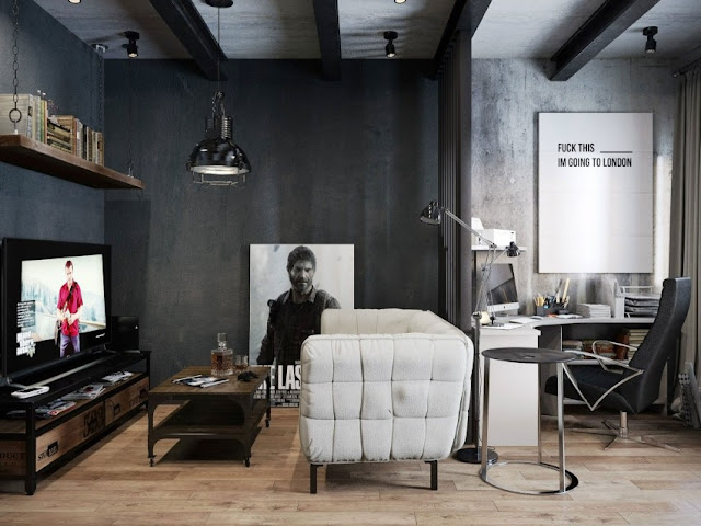 black and white reading and home office design by Denis Krasikov