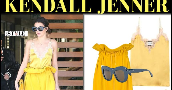 22b3519456dbc6 Kendall Jenner in yellow camisole and yellow pants in Los Angeles on March  15 ~ I want her style - What celebrities wore and where to buy it.