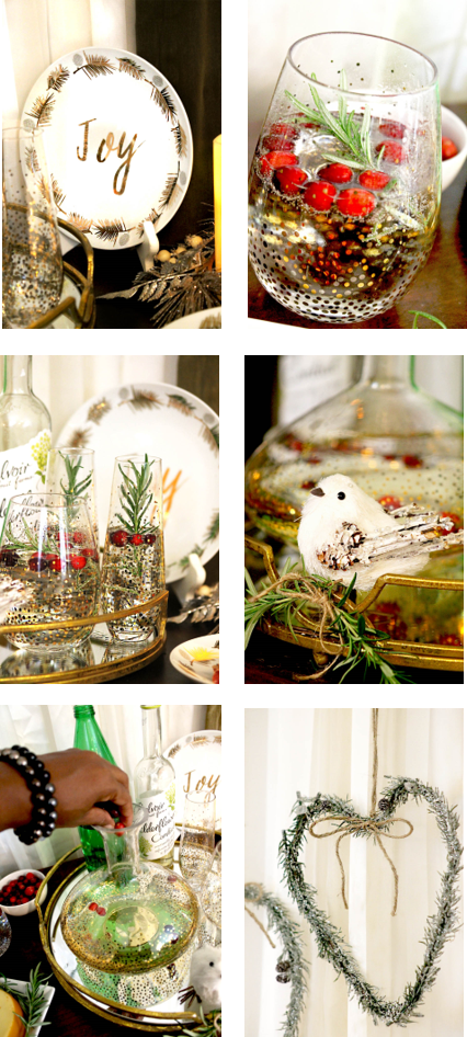 holiday cocktails, holiday decorating, mirrored tray, metallic glass decanter, metallic glassware