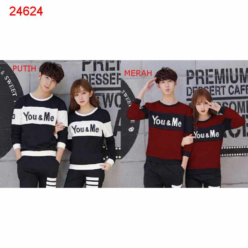 Jual Sweater Couple Sweater You Me Block - 24624
