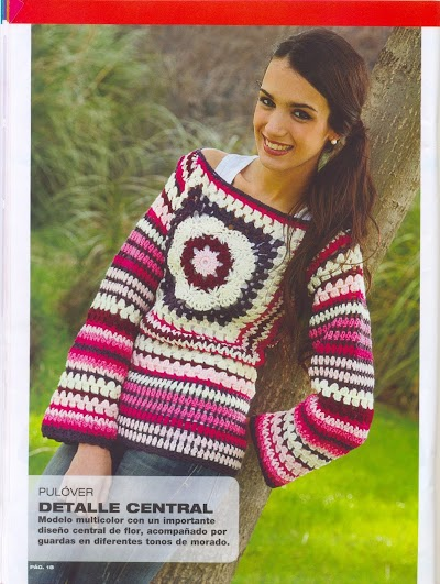 Jersey Pulover de Colores Crochet Patron