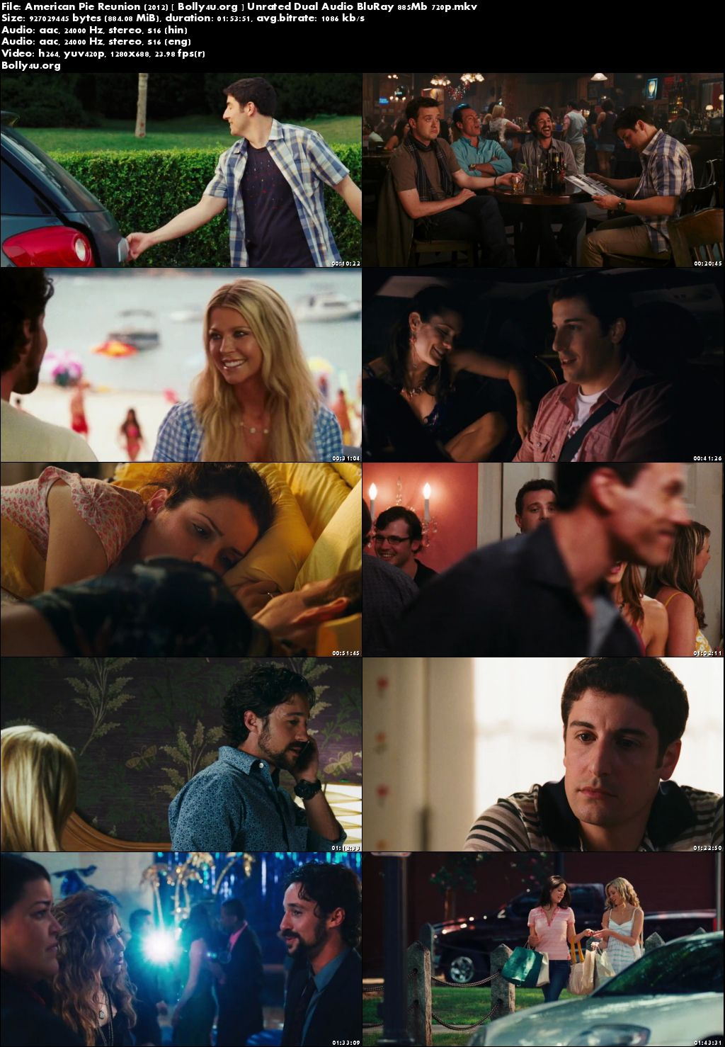 American Pie Reunion 2012 BRRip 850MB UNRATED Hindi Dual Audio 720p Download