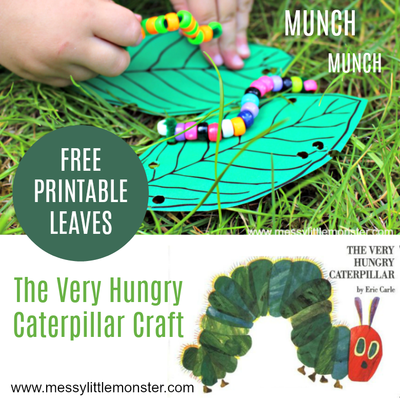 An easy 'The Very hungry Caterpillar' craft for toddlers and preschoolers. Free printable leaves template included. A good kids activity for a Spring, bug or growing themed project.