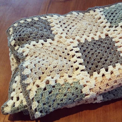 handmade crochet blanket neutral earth tones