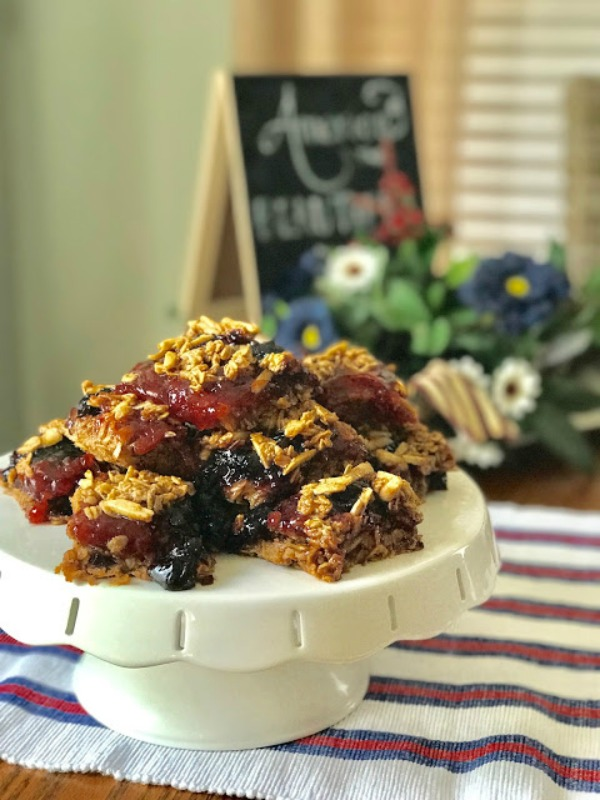 Red and Blue Oatmeal Squares from Our Good Life