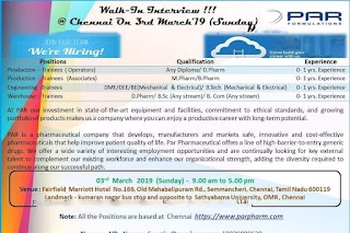 PAR pharma @ walk in interview on 03/03/2019 for multiple positions