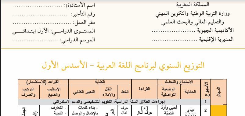 """التوزيع السنوي لبرنامج اللغة العربية وفق مرجع """"كتابي في اللغة العربية"""" للمستوى الأول"""