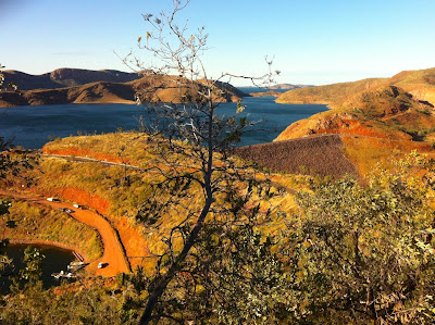 Landscape photo of Lake Argyle between the hills
