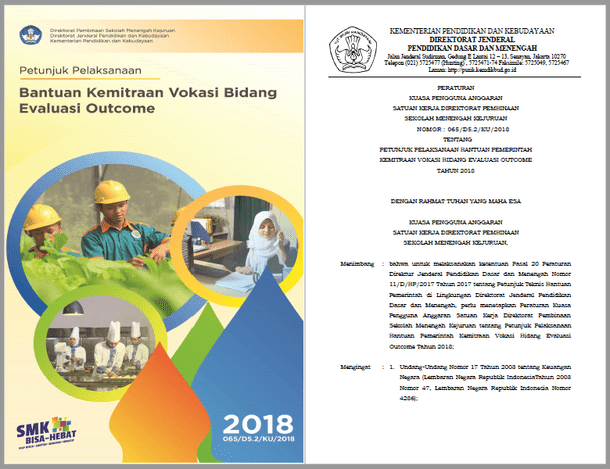 Juklak Bantuan Kemitraan Vokasi Bidang Evaluasi Outcome SMK Tahun 2018