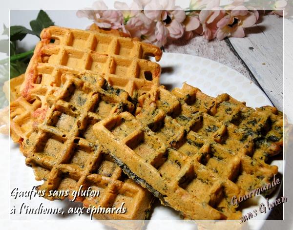 Gaufres sans gluten farine de pois chiches et épinard