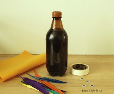 craft supplies to make a turkey out of a soda bottle